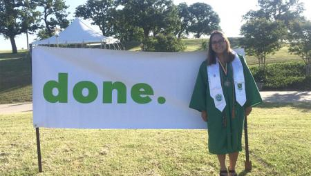 Gabby Ibarra celebrates her 2016 graduation from UNT's College of Health and Public Service