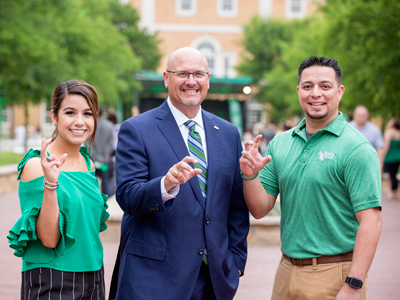 David Wolf with UNT students